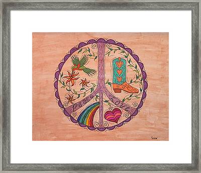 Peace And Love Western Style Framed Print