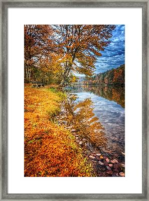 Peace At Fall Framed Print by Debra and Dave Vanderlaan