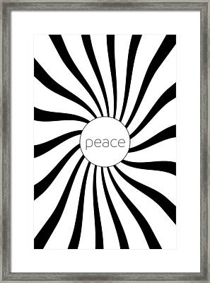 Peace - Black And White Swirl Framed Print