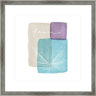 Peace Cannabis Leaf Watercolor- Art By Linda Woods Framed Print