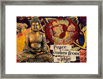 Framed Print featuring the mixed media Peace Comes From Within. Buddha by Lita Kelley