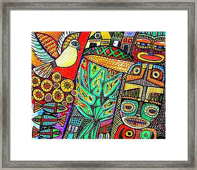 Peace Dove In Totem Forest Framed Print