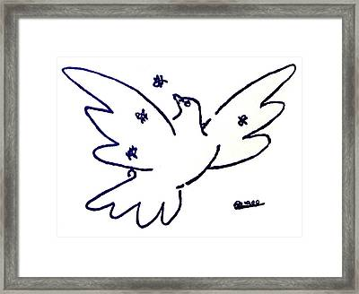 Peace Dove Serigraph In Blue As A Tribute To Pablo Picasso's Lithograph Of Love Bird With Flowers Framed Print