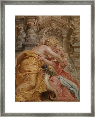 Peace Embracing Plenty Framed Print by Peter Paul Rubens