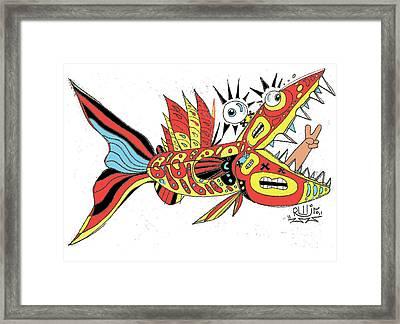 Peace Funky Folk Fish Framed Print by Robert Wolverton Jr