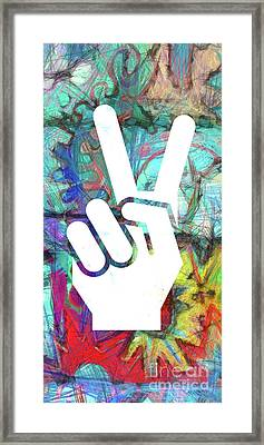Peace Hand Sign 1  Framed Print by Edward Fielding