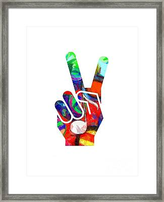 Peace Hippy Paint Hand Sign Framed Print