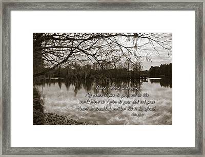 Peace I Leave With You Framed Print by Carolyn Marshall