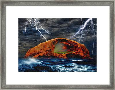 Peace In The Cleft In The Midst Of The Storm Framed Print by Chas Sinklier
