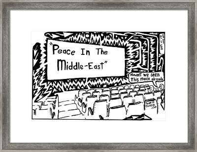 Peace In The Middle-east Rerun Maze Cartoon Framed Print by Yonatan Frimer Maze Artist