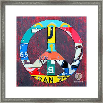 Peace License Plate Art Framed Print by Design Turnpike