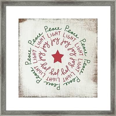 Peace Light Joy Wreath- Art By Linda Woods Framed Print