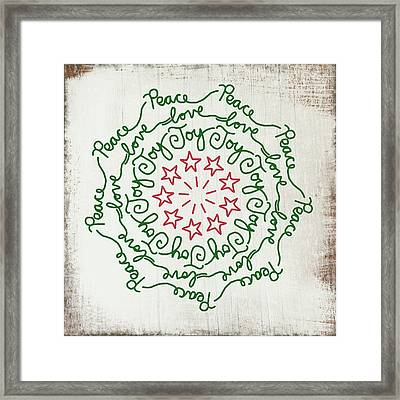 Peace Love Joy Wreath- Art By Linda Woods Framed Print