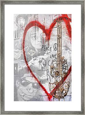 Peace Love Rocknroll Framed Print