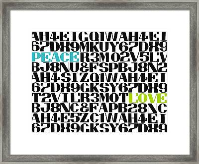 Peace Love Type Framed Print