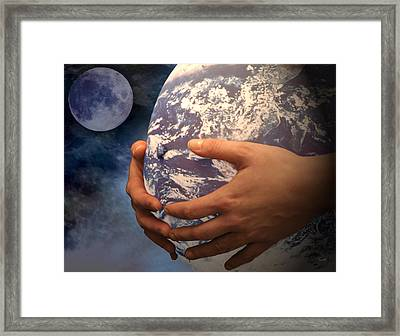 Framed Print featuring the digital art Peace On Earth Gaia by Tom Romeo