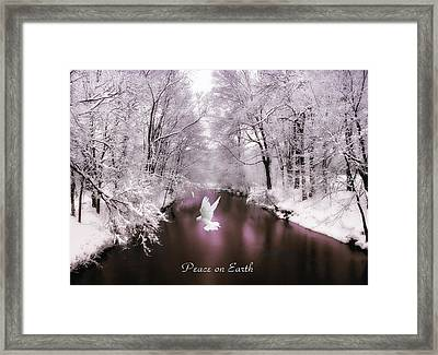 Peace On Earth With Text Framed Print by Jessica Jenney