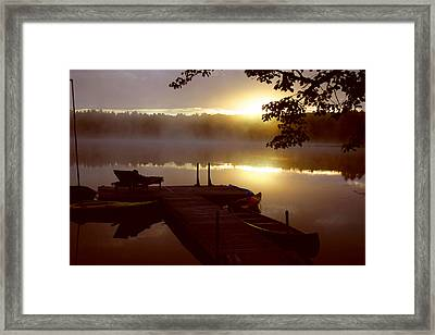 Peace On Lake Framed Print by Dennis Curry