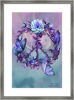 Peace Rose - Blue Framed Print by Carol Cavalaris