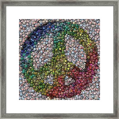 Framed Print featuring the digital art Peace Sign Bottle Cap Mosaic by Paul Van Scott