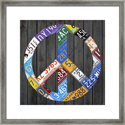 Peace Sign Recycled Vintage License Plate Art By Design Turnpike Framed Print