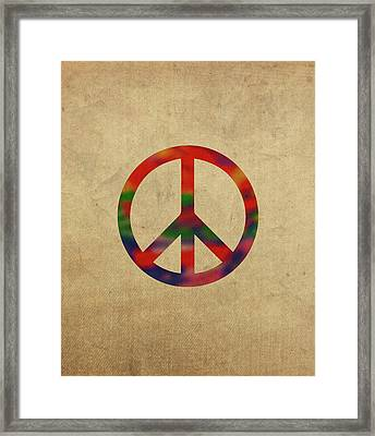 Peace Sign Symbol In Watercolor Framed Print