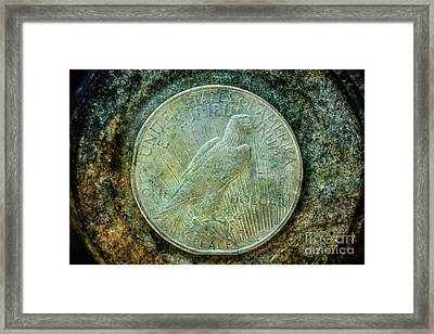 Peace Silver Dollar Reverse Framed Print by Randy Steele