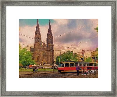 Peace Square Prague Framed Print