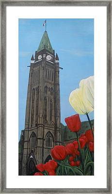 Framed Print featuring the painting Peace Tower by Betty-Anne McDonald