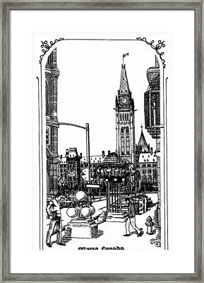Peace Tower Parliament Hill Ottawa 1995 Framed Print by John Cullen