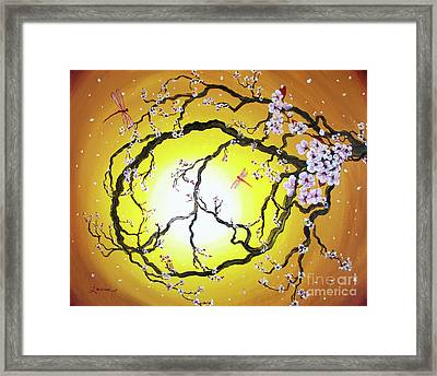 Peace Tree In Golden Glow  Framed Print by Laura Iverson