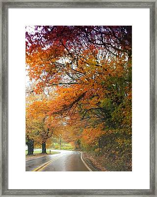 Framed Print featuring the photograph Peaceful Autumn Road by Deb Martin-Webster