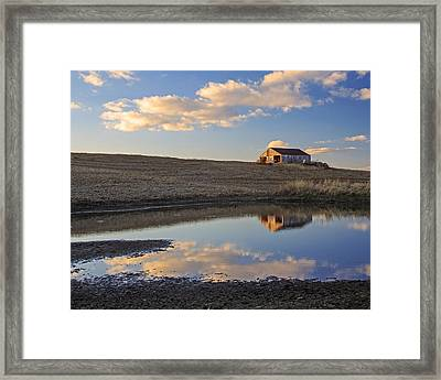 Peaceful Barn Reflection Framed Print by Kevin Anderson