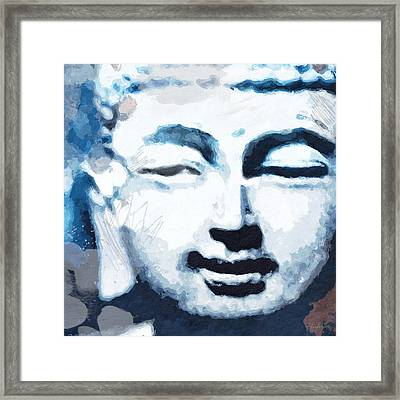 Peaceful Buddha 2- Art By Linda Woods Framed Print