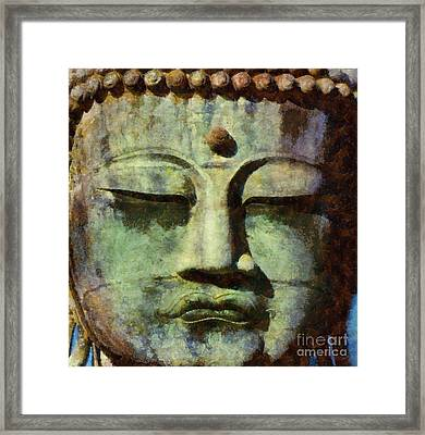 Peaceful Buddha By Sarah Kirk Framed Print by Sarah Kirk