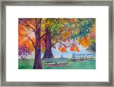 Framed Print featuring the painting Peaceful Chat by AnnE Dentler
