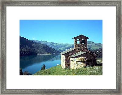 Peaceful Church And Lake  Framed Print