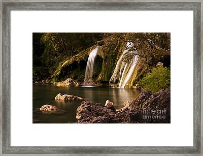 Framed Print featuring the photograph Peaceful Day At Turner Falls by Tamyra Ayles