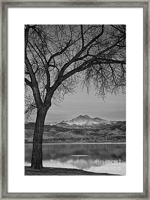 Peaceful Early Morning Sunrise Longs Peak View Bw Framed Print