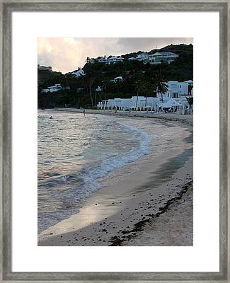 Framed Print featuring the photograph Peaceful Evening On Dawn Beach by Margaret Bobb