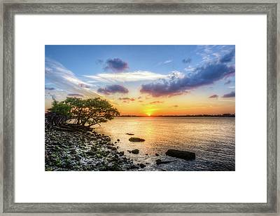 Framed Print featuring the photograph Peaceful Evening On The Waterway by Debra and Dave Vanderlaan