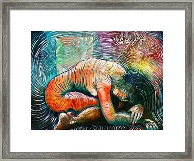 Peaceful Flow - Reclining Nude Framed Print by Gideon Cohn