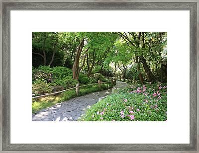 Peaceful Garden Path Framed Print by Carol Groenen