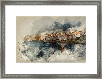 Peaceful Landscape Image Of Mediterranean Style Seaside Village  Framed Print by Matthew Gibson