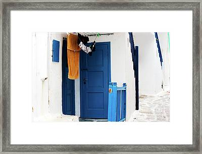 Peaceful Life In Mykonos Framed Print
