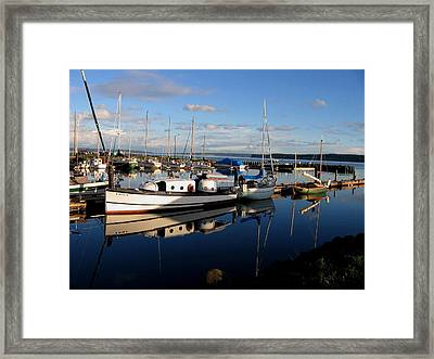 Peaceful Morning At The Harbor Framed Print