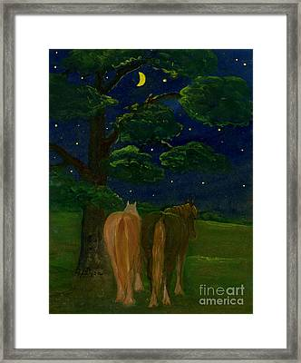 Peaceful Night Framed Print by Anna Folkartanna Maciejewska-Dyba