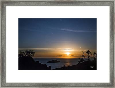 Peaceful Ocean Moon Framed Print by Leland D Howard