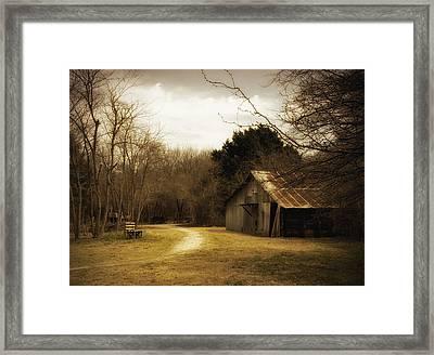 Peaceful Old Barn Framed Print by Iris Greenwell