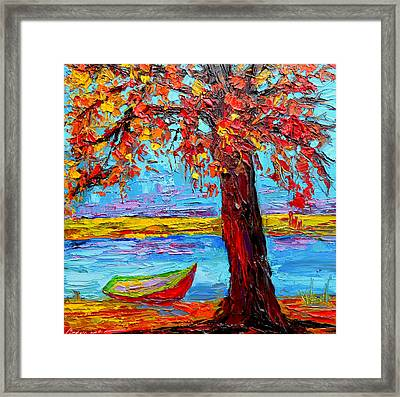 Peaceful Retreat - Modern Impressionist Knife Palette Oil Painting Framed Print